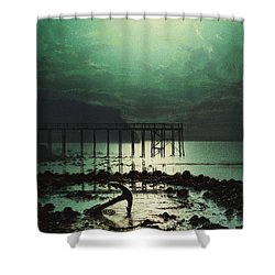 Low Tide By Moonlight Shower Curtain by WHJ Boot