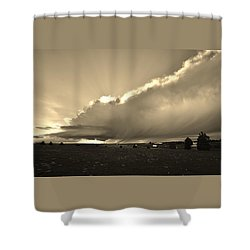 Low-topped Supercell Black And White  Shower Curtain