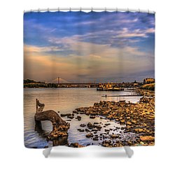 Low Water Vistula Riverscape In Warsaw Shower Curtain