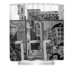 Shower Curtain featuring the photograph Lower East Side Mural by Dave Beckerman