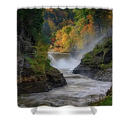Lower Falls Of The Genesee River Shower Curtain by Rick Berk