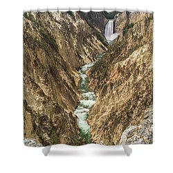 Lower Falls Of The Yellowstone - Portrait Shower Curtain
