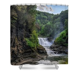 Shower Curtain featuring the photograph Lower Falls - Summer by Mark Papke