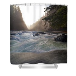 Lower Lewis River Falls During Sunset Shower Curtain by David Gn