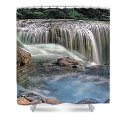 Lower Lewis River Falls Rush Shower Curtain by David Gn