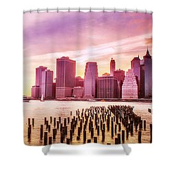 Lower Manhattan And Ferry Shower Curtain