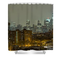 Lower Manhattan Cityscape Seen From Brooklyn Shower Curtain