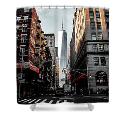 Shower Curtain featuring the photograph Lower Manhattan One Wtc by Nicklas Gustafsson