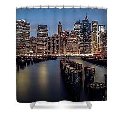 Lower Manhattan Skyline Shower Curtain by Eduard Moldoveanu