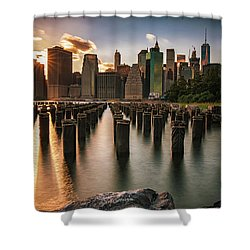 Lower Manhattan Sunset Twinkle Shower Curtain