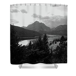 Lower Two Medicine Lake In Black And White Shower Curtain