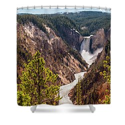 Lower Yellowstone Canyon Falls 5 - Yellowstone National Park Wyoming Shower Curtain