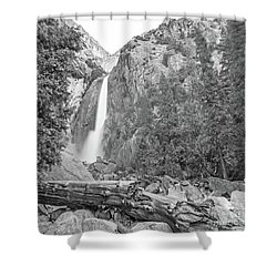 Lower Yosemite Falls In Black And White By Michael Tidwell Shower Curtain