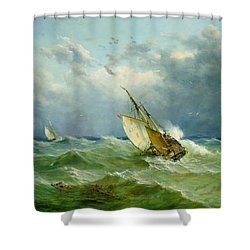 Lowestoft Trawler In Rough Weather Shower Curtain by John Moore