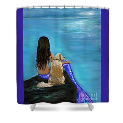 Shower Curtain featuring the painting Loyal Loving Buddy by Leslie Allen
