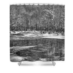 Shower Curtain featuring the photograph Loyalhanna Creek Bw - Wat0097 by G L Sarti