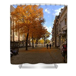 Shower Curtain featuring the photograph Little Lady Mary Square In October Maastricht by Nop Briex