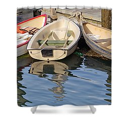 Shower Curtain featuring the photograph Lubec Dories by Peter J Sucy