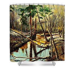 Shower Curtain featuring the painting  Lubianka-1- River by Henryk Gorecki