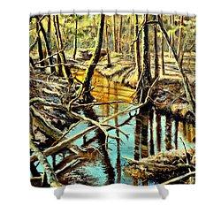 Lubianka-3-river Shower Curtain by Henryk Gorecki