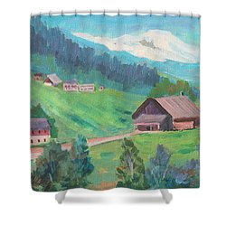 Shower Curtain featuring the painting Lucerne Countryside by Diane McClary