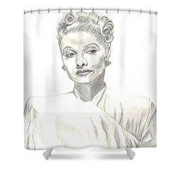 Shower Curtain featuring the drawing Lucille by Carol Wisniewski