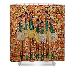 Shower Curtain featuring the painting Lucky Seven by Donna Howard