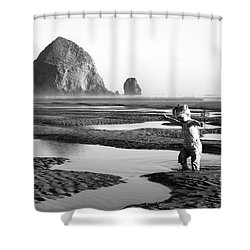 Lucy At Haystack Rock Shower Curtain