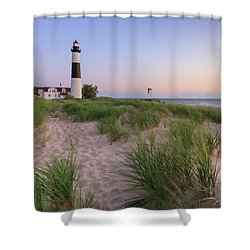 Shower Curtain featuring the photograph Ludington Beach And Big Sable Point Lighthouse by Adam Romanowicz