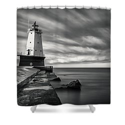 Shower Curtain featuring the photograph Ludington Light Black And White by Adam Romanowicz
