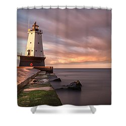 Shower Curtain featuring the photograph Ludington Light Sunrise Long Exposure by Adam Romanowicz