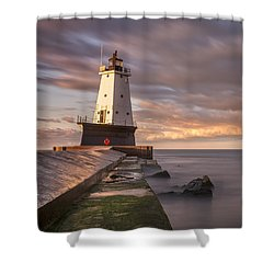 Shower Curtain featuring the photograph Ludington North Breakwater Light At Dawn by Adam Romanowicz