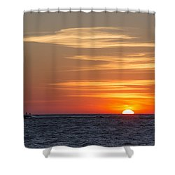 Shower Curtain featuring the photograph Ludington North Breakwater Light At Sunset by Adam Romanowicz
