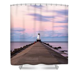 Shower Curtain featuring the photograph Ludington North Breakwater Light Sunrise by Adam Romanowicz