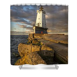 Shower Curtain featuring the photograph Ludington North Breakwater Lighthouse At Sunrise by Adam Romanowicz