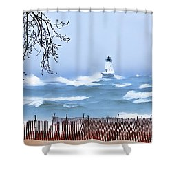 Ludington Winter Shore  Shower Curtain