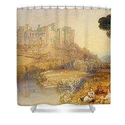 Ludlow Castle  Shower Curtain by Joseph Mallord William Turner