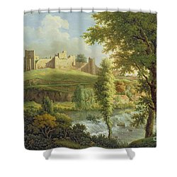 Ludlow Castle With Dinham Weir Shower Curtain by Samuel Scott