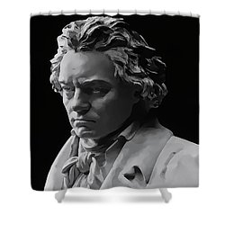 Shower Curtain featuring the mixed media Ludwig Van Beethoven by Daniel Hagerman