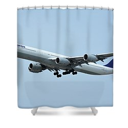 Shower Curtain featuring the photograph Lufthansa Airbus A340-600 D-aihw Los Angeles International Airport May 3 2016 by Brian Lockett