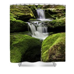 Luminous Triple Falls - Tunxis State Forest   Shower Curtain