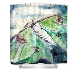 Luna Moth Full Moon Shower Curtain