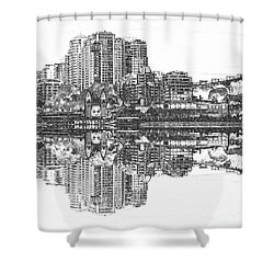 Shower Curtain featuring the photograph Luna Park Pencil Ink By Kaye Menner by Kaye Menner
