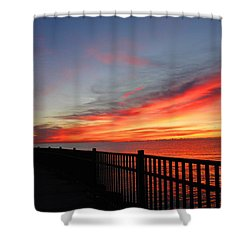 Shower Curtain featuring the photograph Luna Pier by Michael Rucker
