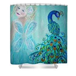 Luna Shows Her Feathers Shower Curtain by The Art With A Heart By Charlotte Phillips