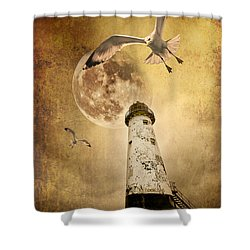 Lunar Flight Shower Curtain by Meirion Matthias
