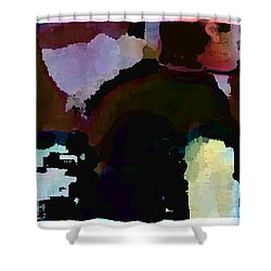 Shower Curtain featuring the painting Lunch Counter by Steve Karol