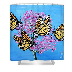 Butterfly Feeding Frenzy Shower Curtain