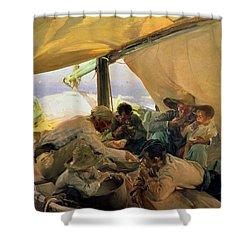Lunch On The Boat Shower Curtain by Joaquin Sorolla y Bastida