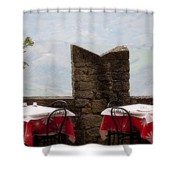 Lunch With A View Shower Curtain by Rae Tucker